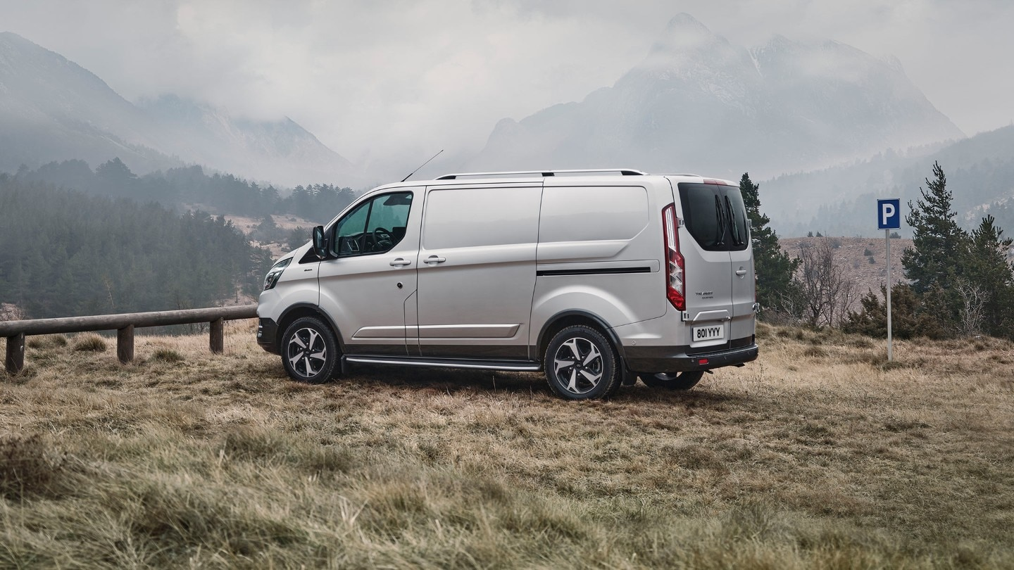Ford Transit Custom Active side view parked in mountains